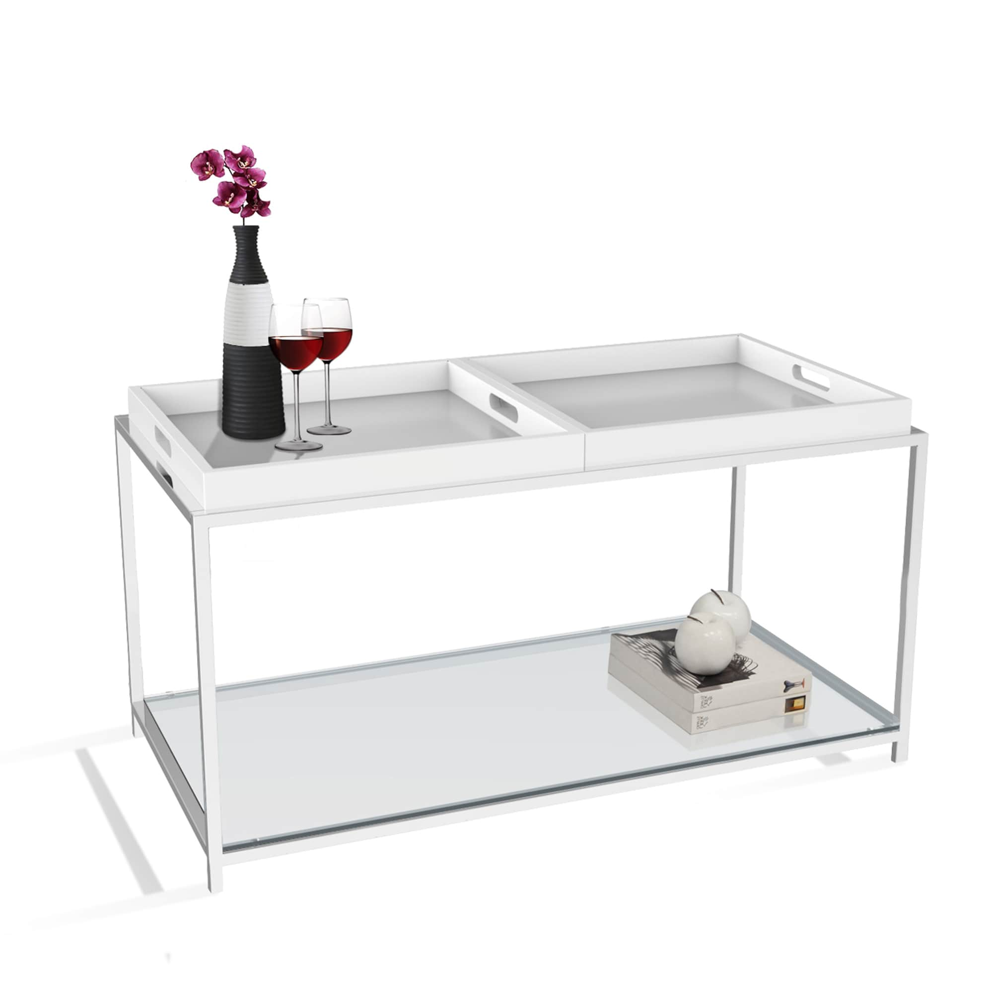 Silver Orchid Makay Chrome Finish Tempered Coffee Table With Removable Trays White