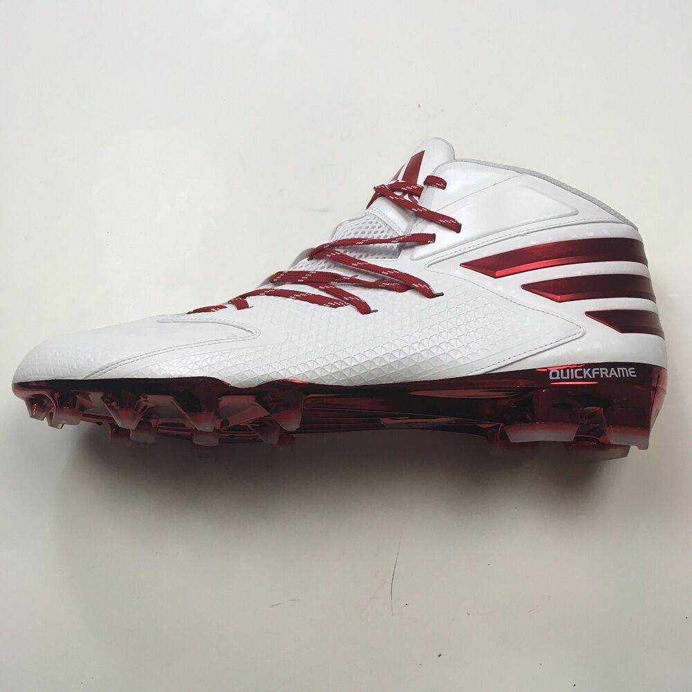 Adidas mens football cleats sz 17 white red lace up