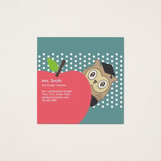 School teacher cute apple owl business card business cards school teacher cute apple owl business card colourmoves