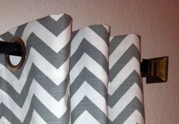 Chevron Curtains Custom Drapes Panels Ash Grey and White Slub Zig Zag Pair of 50 x 108 with Grommets