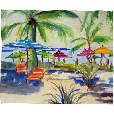 DENY Designs Caribbean Time Fleece by Laura Trevey Throw Blanket Size: