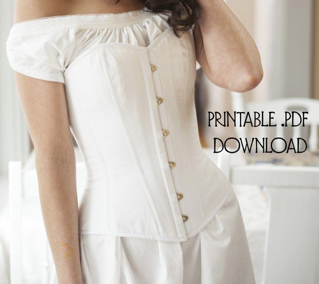 b6e1eea922 Victorian Overbust Corset Pattern -- Printable PDF