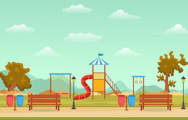子供遊び場遊具イラストと秋秋の都市公園 公園 イラスト イラスト 便箋