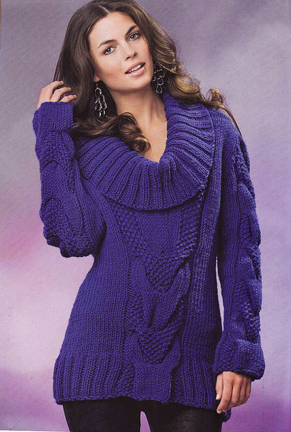 Hand Knit Women\'s cowl neck sweater boat neck hand knitted women\'s ...