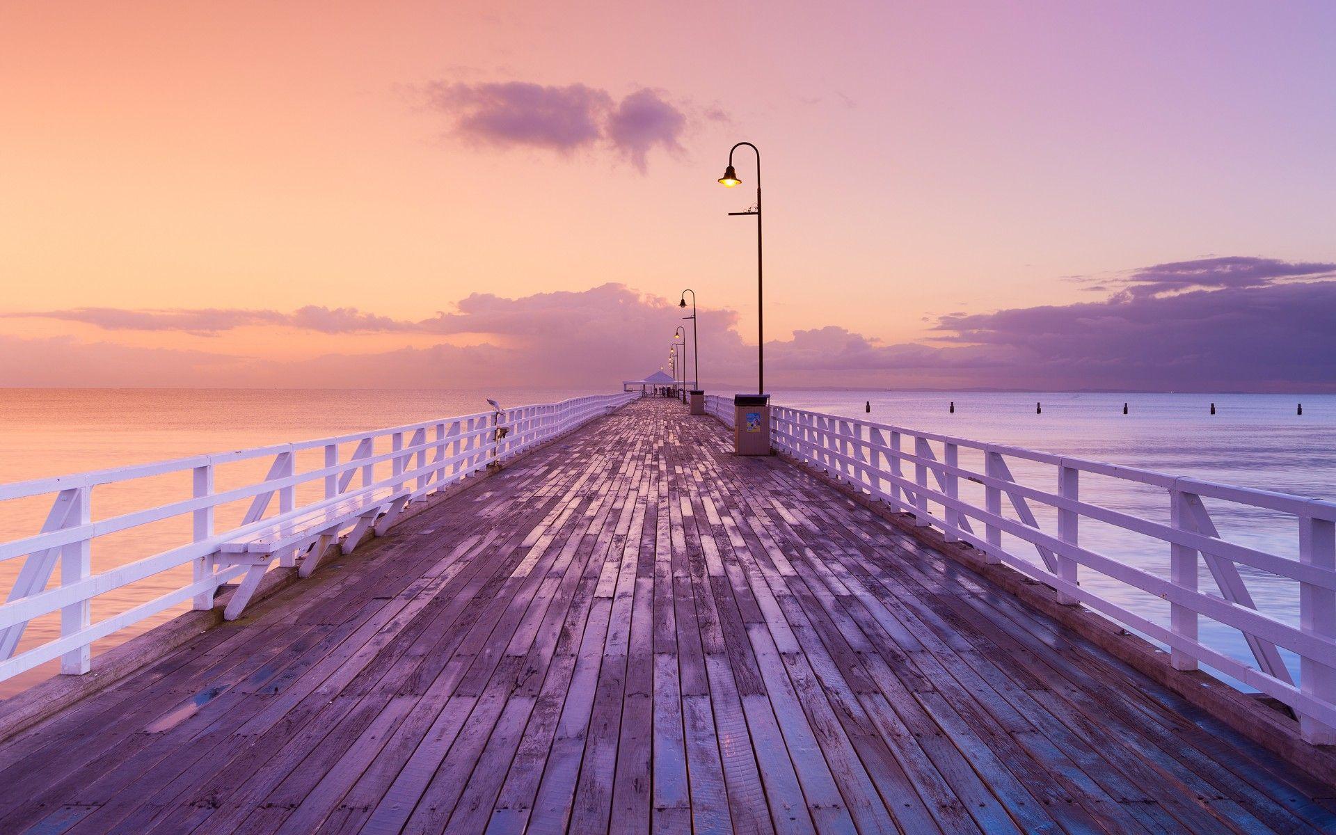 Dock Pier Sunset Sunrise Ocean Sky Clouds In 2019