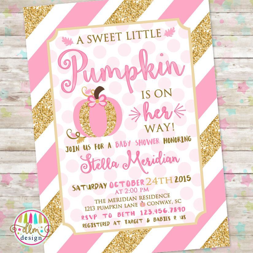 Little Pumpkin Baby Shower, Pink and Gold Invitation, Baby Shower ...