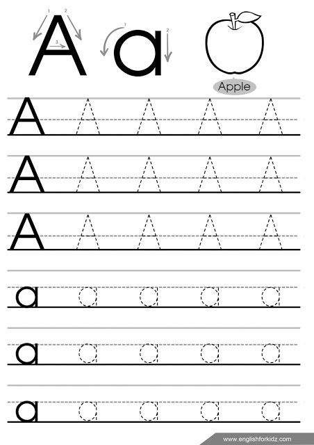 letter a tracing worksheet english for kids teaching english to kids letter worksheets for. Black Bedroom Furniture Sets. Home Design Ideas