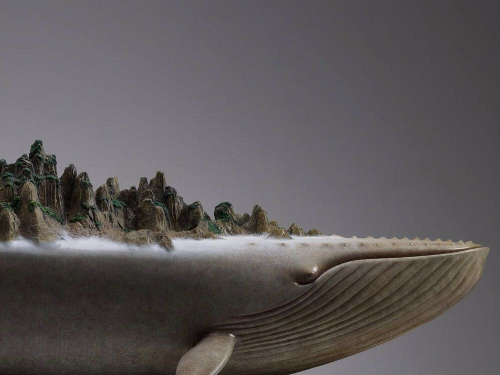 Sculptures of Whales Carrying Oceans and Mountains on Their Backs - CAT IN WATER