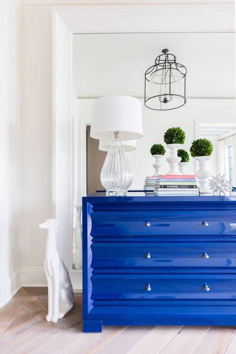 Lacquered Furniture. Pop Of Blue In The Bedroom. Home Decor And Interior  Decorating Ideas.