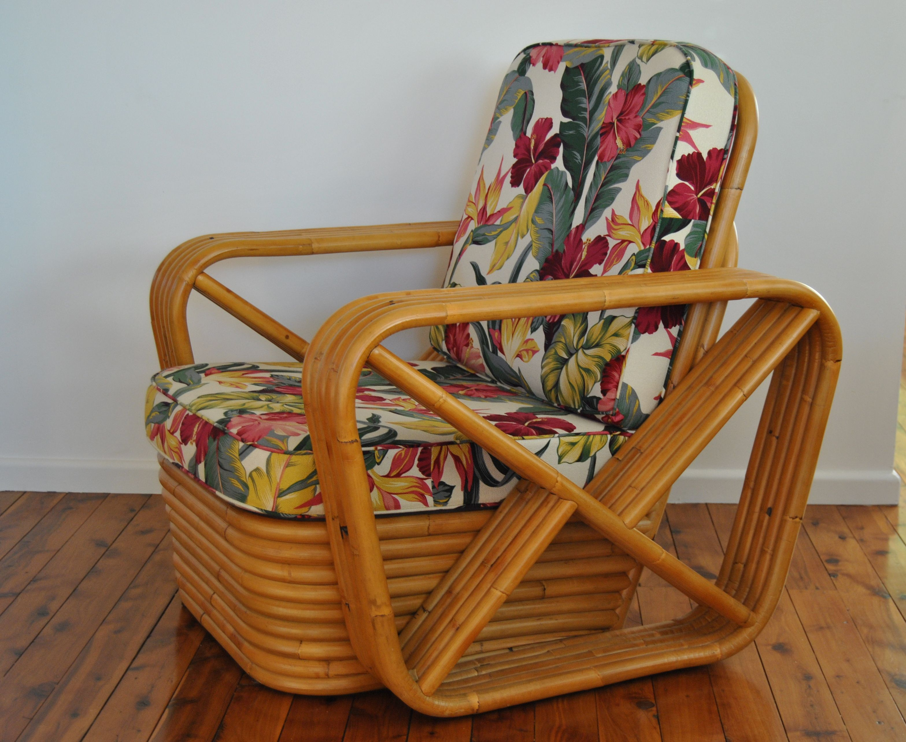 Side view of hollywood single seater with 5 bamboo arm strands from found furniture at tugun qld