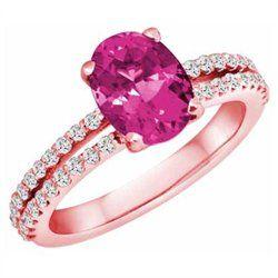 DivaDiamonds 14K Rose Gold Split Shank PinkSapphire and Diamond Engagement Ring (1.65 cttw, F-G, VS)