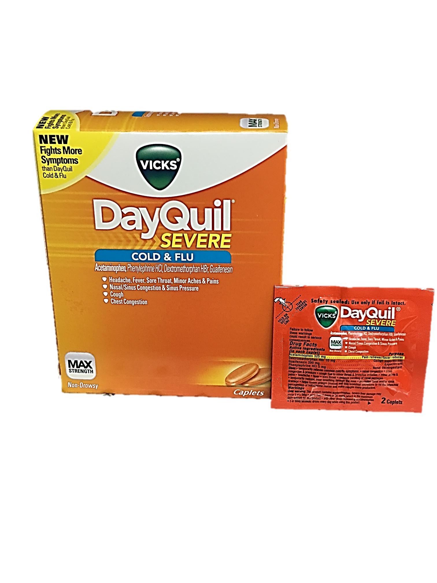 Dayquil Severe Cold Flu Box Of 25 Pouches Each Pouch 2 Pills