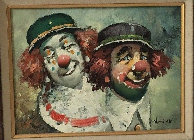 RARE Original Clown Oil Canvas Painting by Listed w Moninet French Artist | eBay