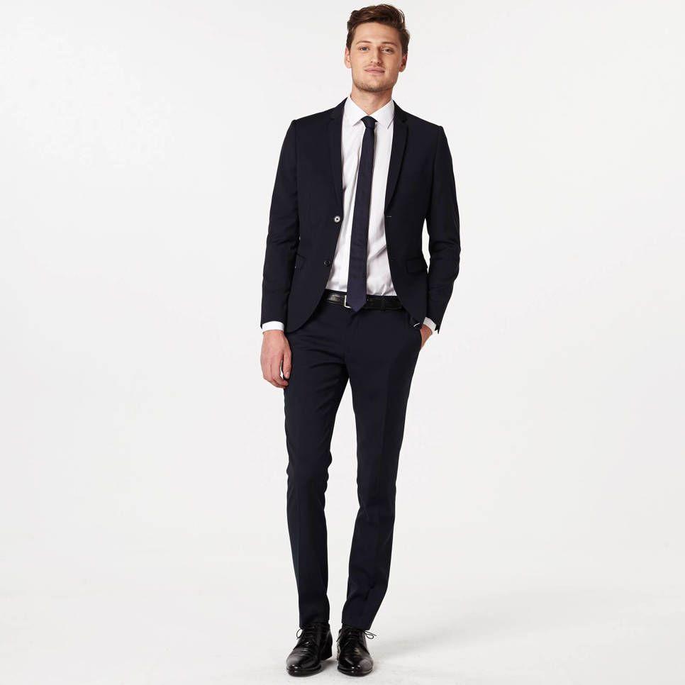 Kersttrui Heren We.We Fashion Skinny Fit Colbert Donkerblauw Herenmode Skinny Fit