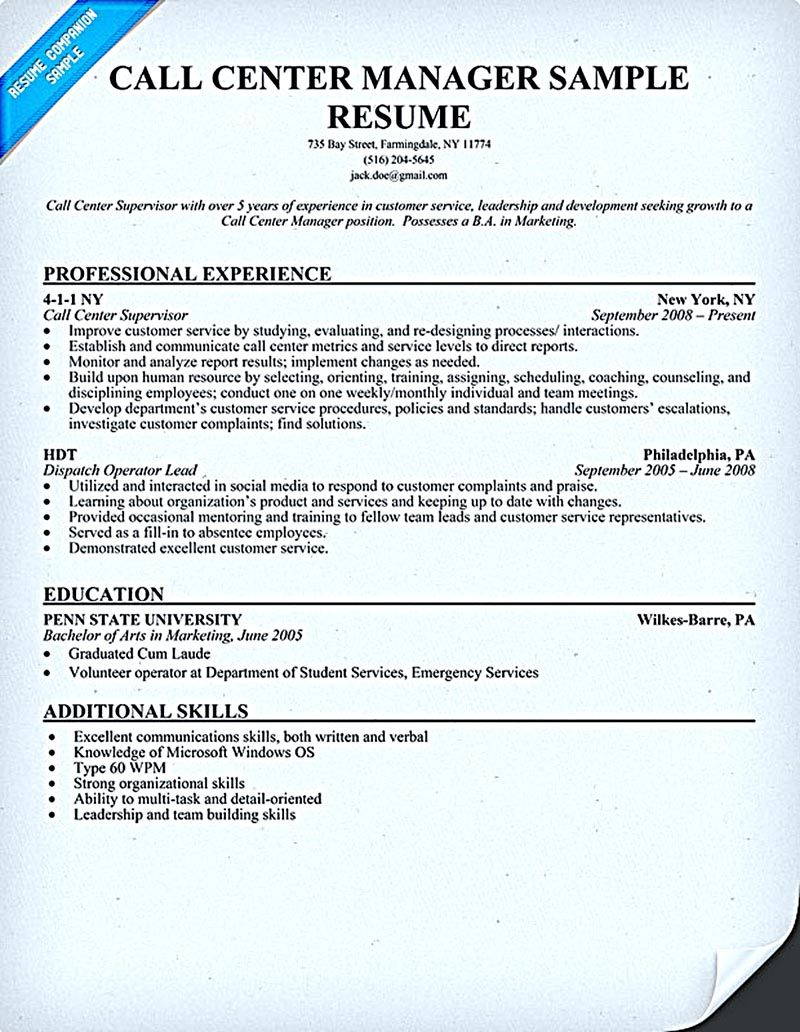 Call center resume for professional with relevant experience needed ...
