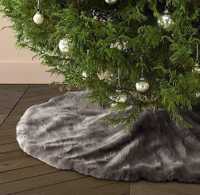 A ASR Pl/üsch Christmas Tree Blanket Skirt f/ür Hause,Schule,Gesch/äft,B/üro,Supermarkt 78cm Weihnachtsbaum Rock grau,wei/ß,lila
