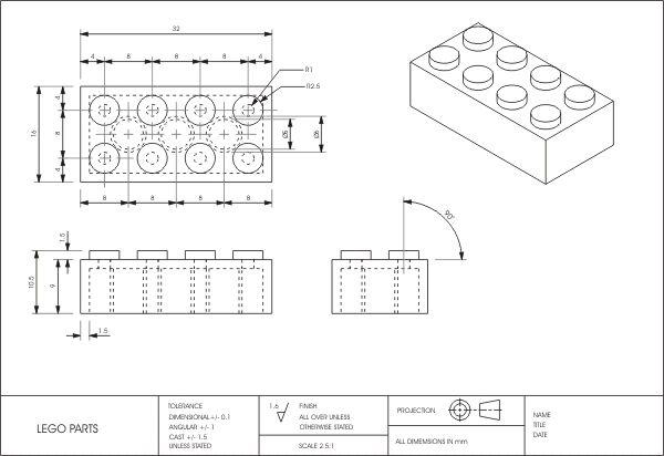 Dimensions Of A Lego Google Search Tecnicas De Dibujo Planos Dibujo Tecnico Industrial
