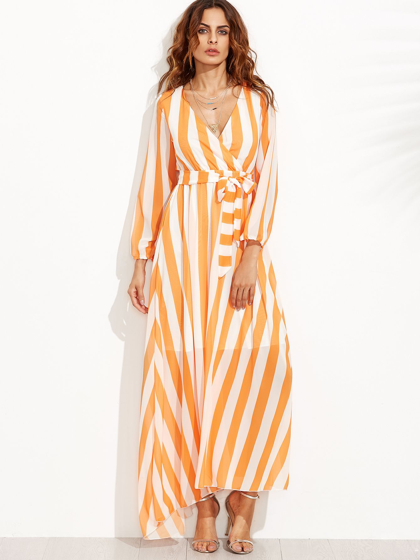 f8e140101fd5d Orange unconcerned Chiffon Deep V Neck lifelong hosepipe A Line Maxi Belted  Striped YES structure angular distance no pull time of year Wrap Dresses.