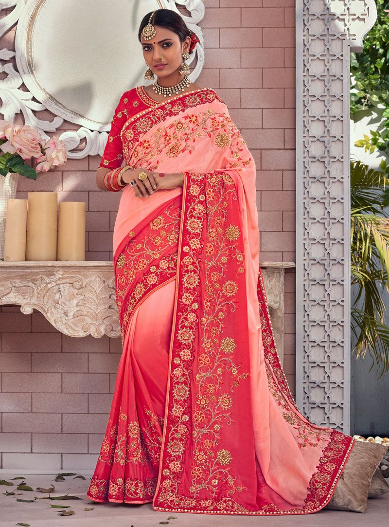 5009003631 Buy Peach Chinon Wedding Saree 121345 with blouse online at lowest price  from vast collection of sarees at Indianclothstore.com.