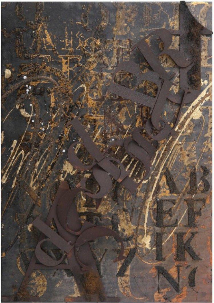 """Enrico Benetta, """"Diritto"""", mixed media and cor-ten steel on canvas, cm 50x35"""