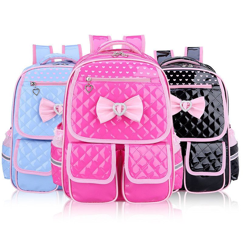 6fba4258d11e Children Kids Princess Girls Faux PU Leather Backpack Kid Pink Cute Bowknot  Primary School Backpacks Daypack