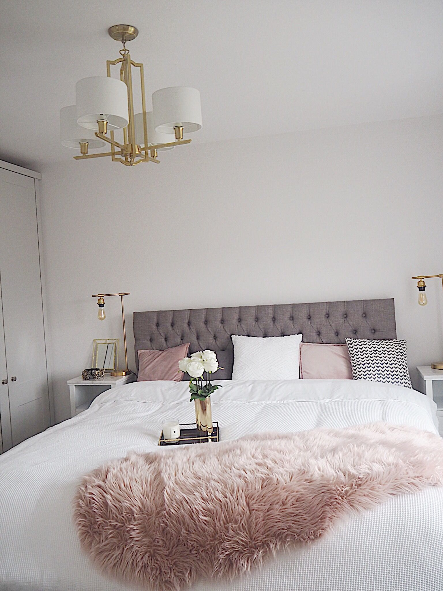 My Blush pink white and gray bedroom | Pink bedroom decor ...