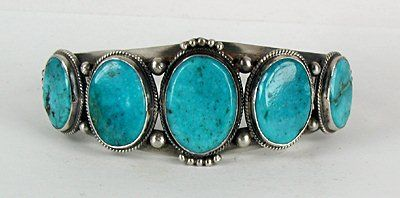 Authentic Native American Sterling Silver and turquoise bracelet by Navajo Dean Brown