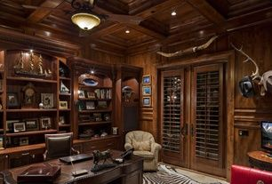 traditional home office with built in bookshelf hardwood floors linon cowhide zebra print