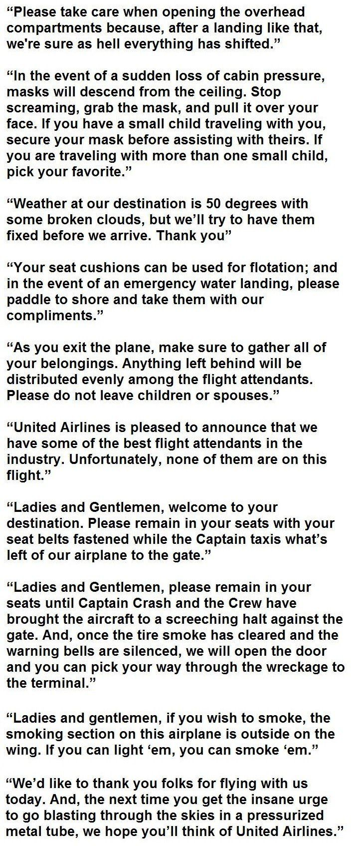 14 Actual Announcements By Flight Attendants This Is How It Should Be Flight Attendant Flight Attendant Humor Flight Announcement