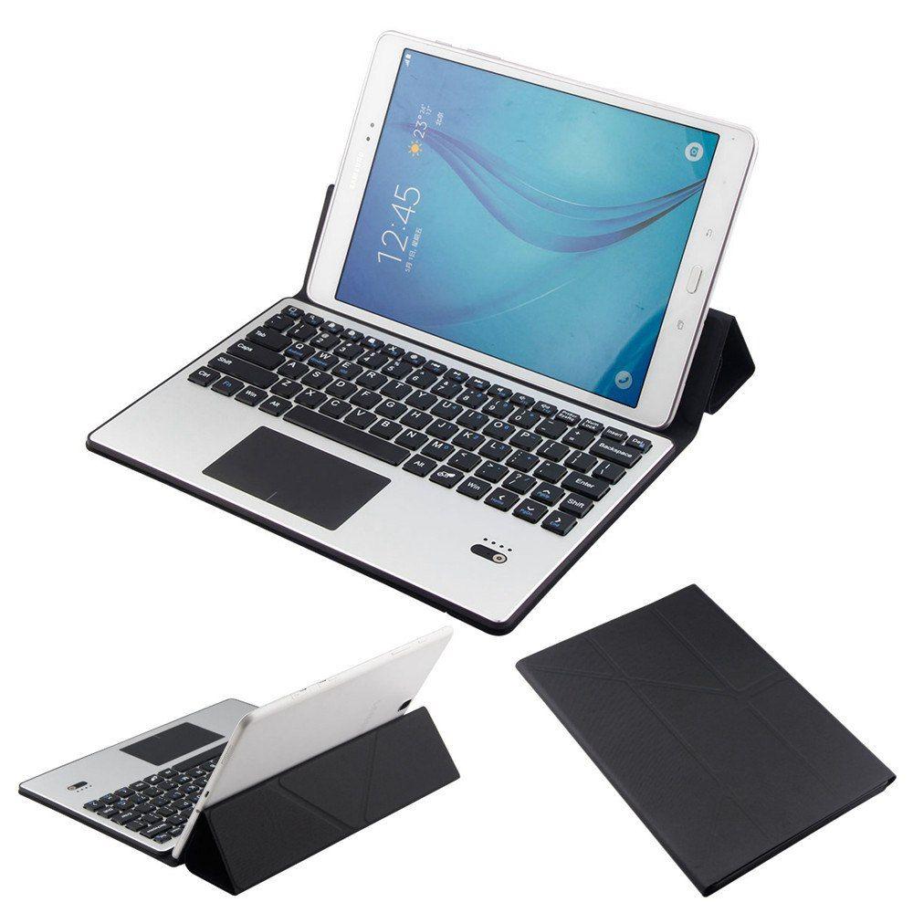 Detachable Aluminum Bluetooth Touchpad Keyboard+Slim PU