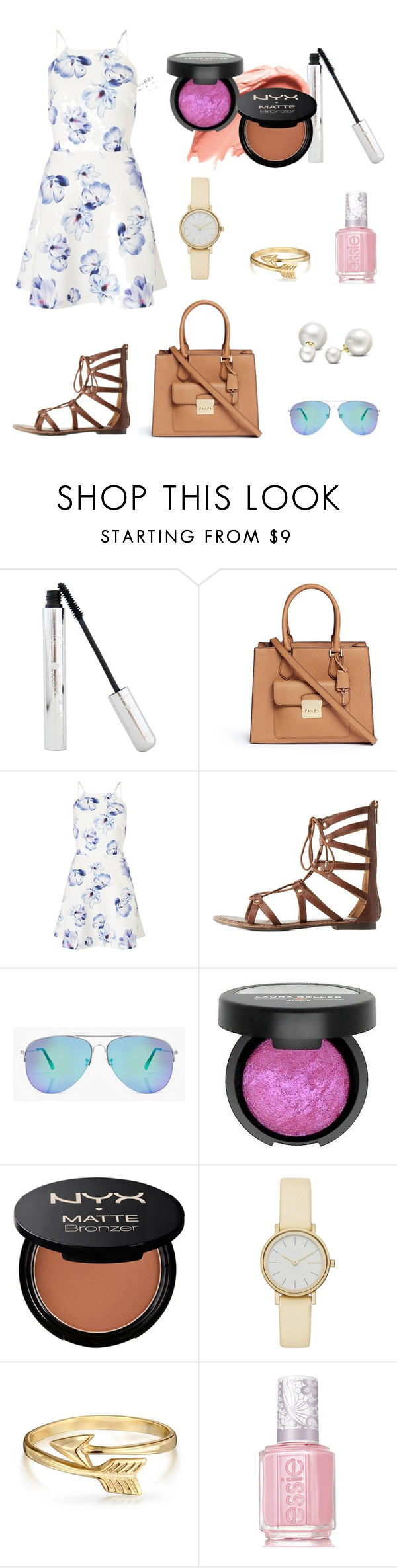 """""""Summer date"""" by bombiforever21 ❤ liked on Polyvore featuring Michael Kors, Lipsy, Charlotte Russe, Boohoo, Urban Decay, Laura Geller, NYX, Skagen, Bling Jewelry and Essie"""
