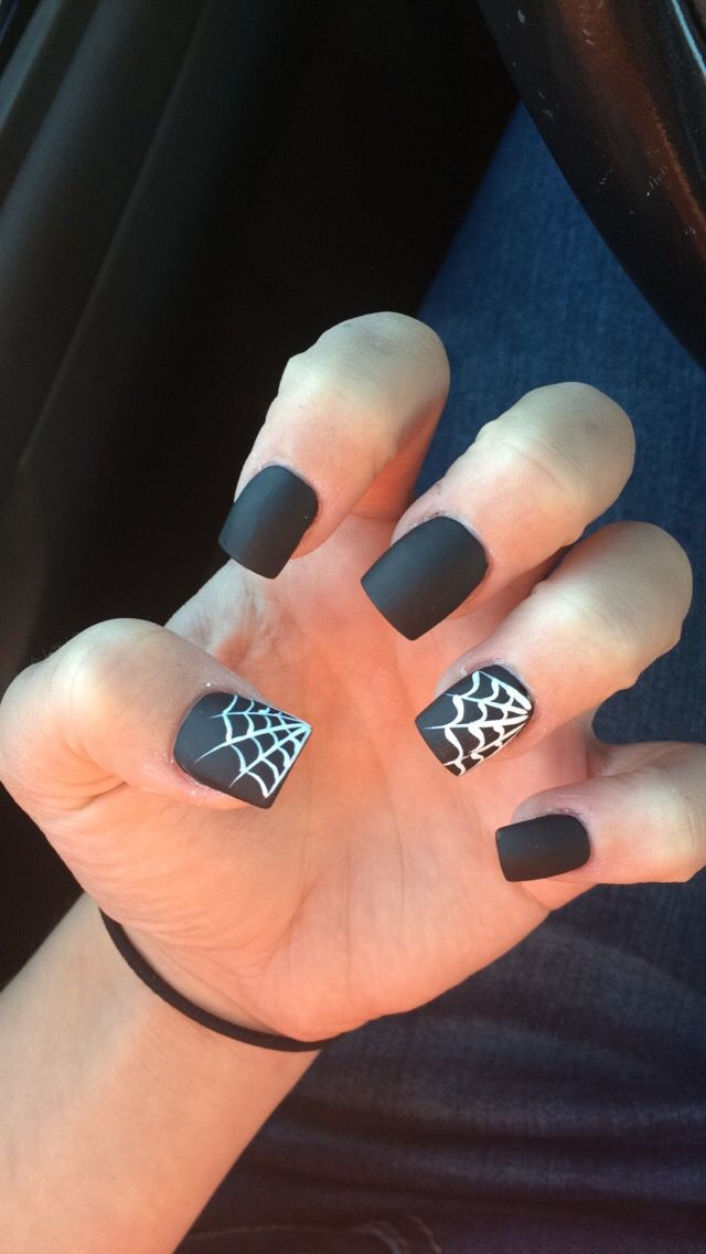 Halloween Matte Black Spider Web Nails Spooky And So Cute I Love Them Halloween Nails Cute Halloween Nails Halloween Nail Art