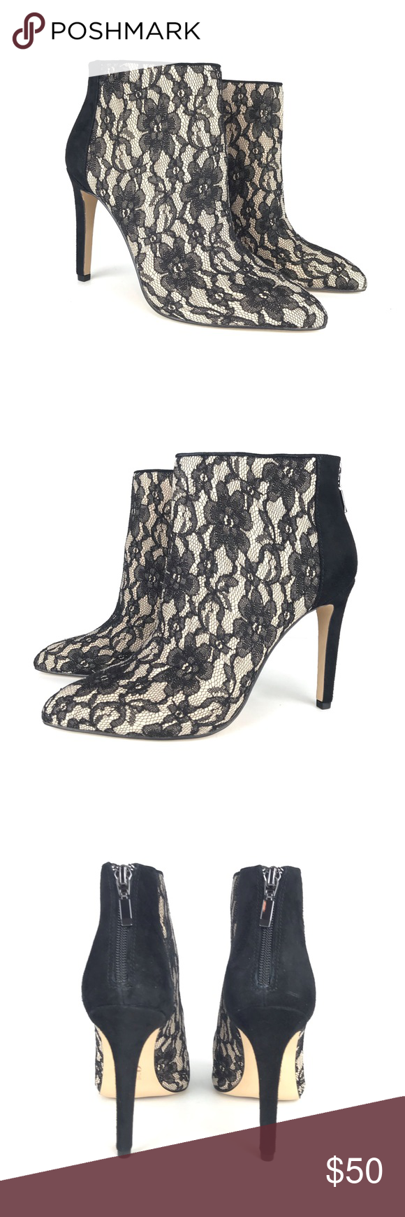 Nude Stiletto Ankle Booties with Lace Oveelay New in box  Beautiful nude shoe with black lace overla...