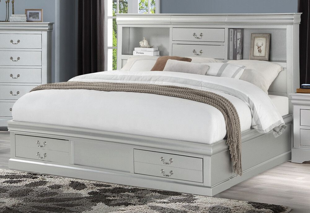 """King Bed with Storages (24917EK) Dimensions 82""""L x 77""""W x"""