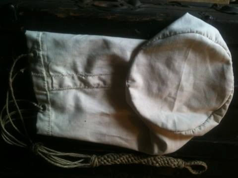 Canvas Maritime Sailor's Ditty Bag with Hemp Cord Lanyard. Hand Sewn with Linen Thread.