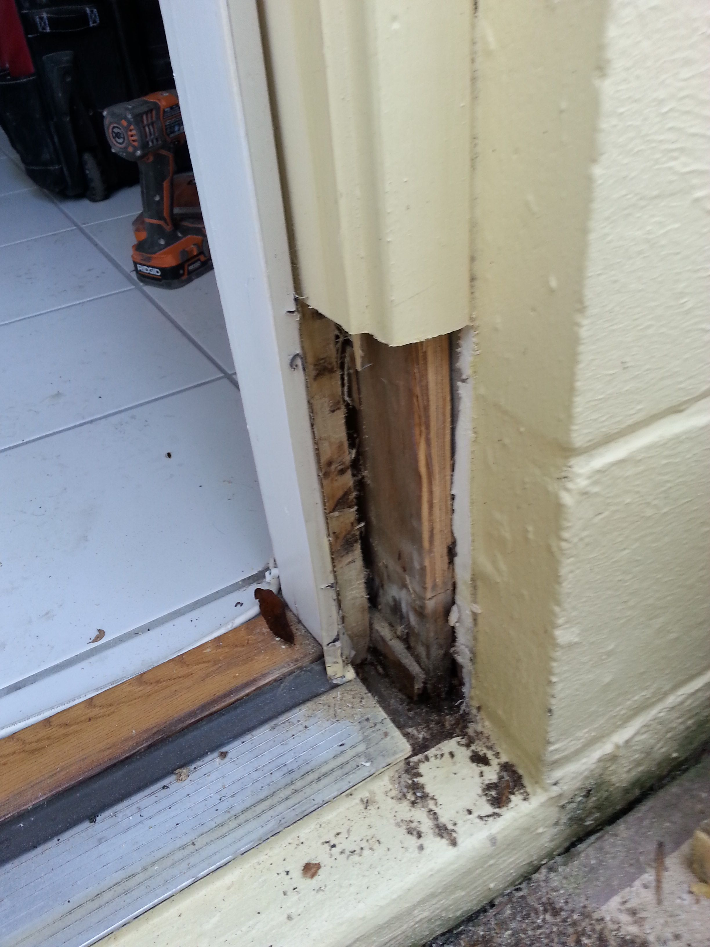 during outside door jamb being repaired removed the old dry rot - Exterior Door Frame Kit