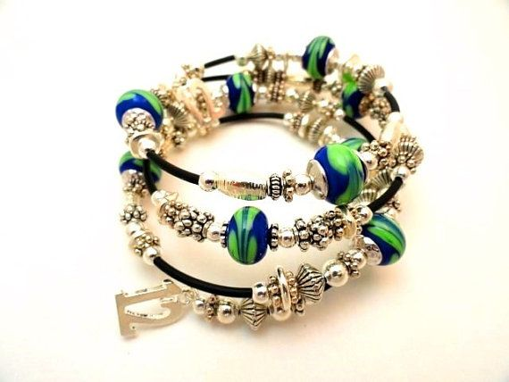 Seahawks Bracelet 12th Man Bracelet Hawks by emeraldcityartglass