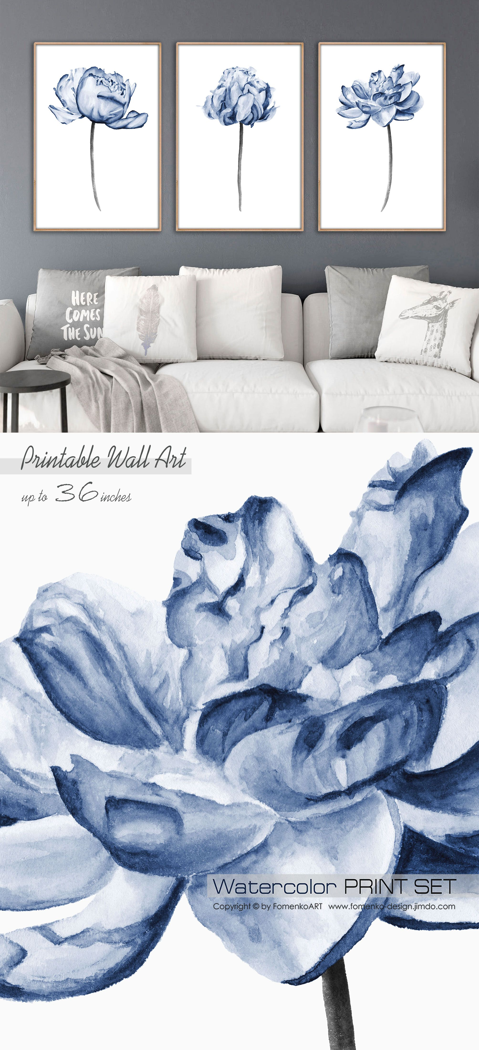 Downloadable Prints Wall Art Kitchen Wall Decor Bedroom Wall Decor Living Room Wall Decor Watercolor Peony Print Navy Blue Wall Art Set Of 3 In 2020 Navy Blue Wall Art Blue