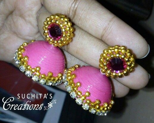 Pink and golden big size jhumka Made by Suchita Toppo