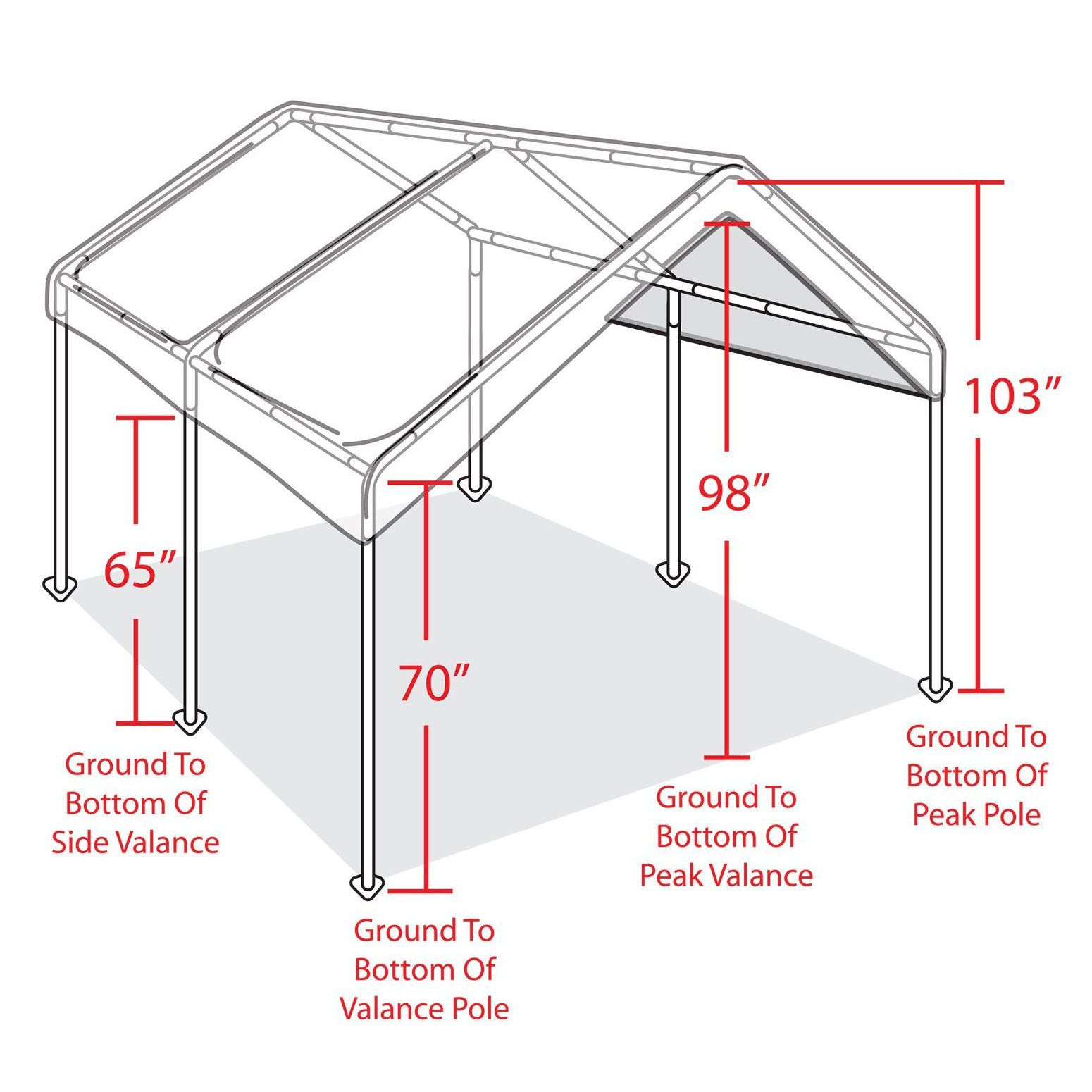 Outdoor Carport Canopy Car Shelter Frame 10x20 Garage Cover Tent ...