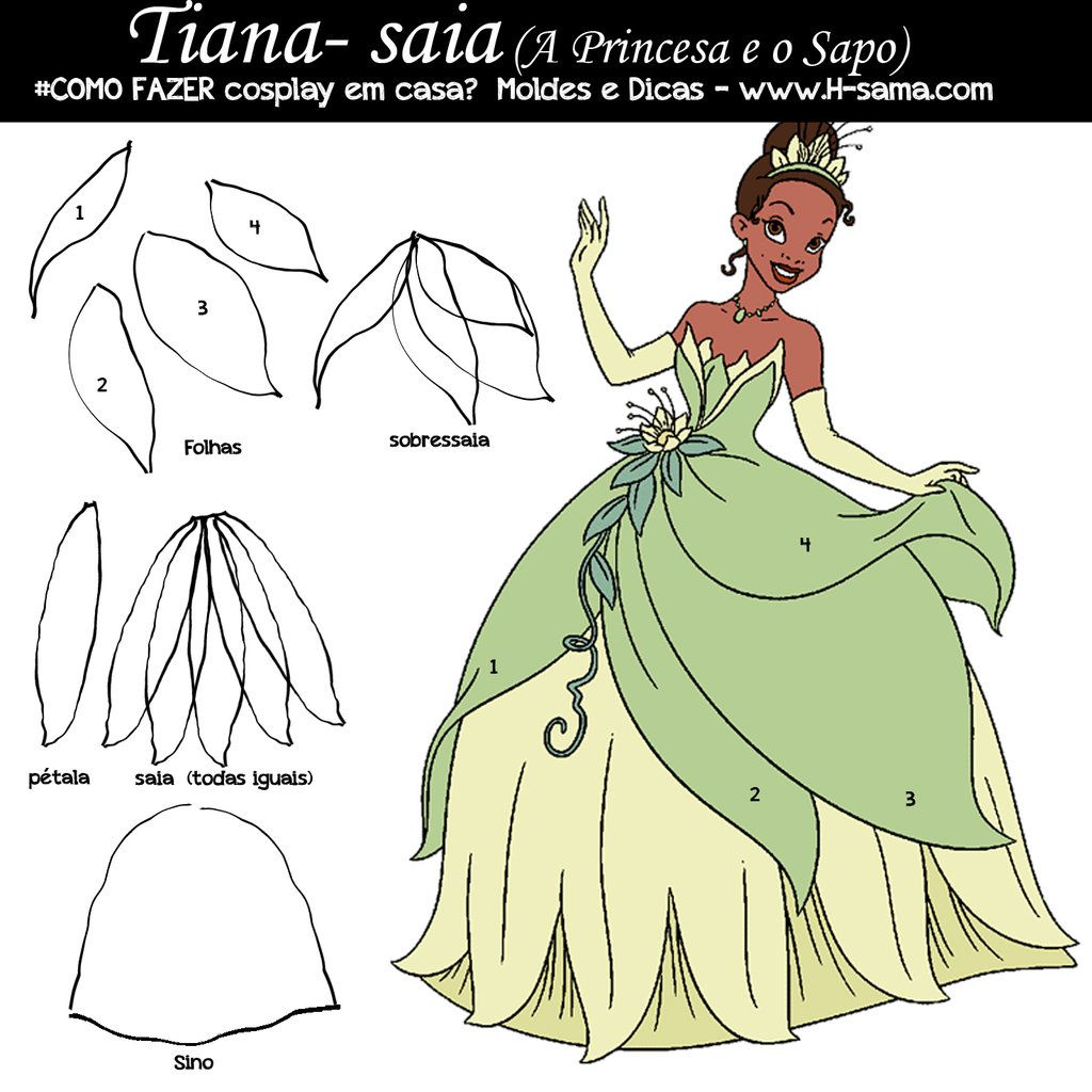 Tiana Princess Frog fantasia cosplay tutorial saia by H-SAMABlog ...
