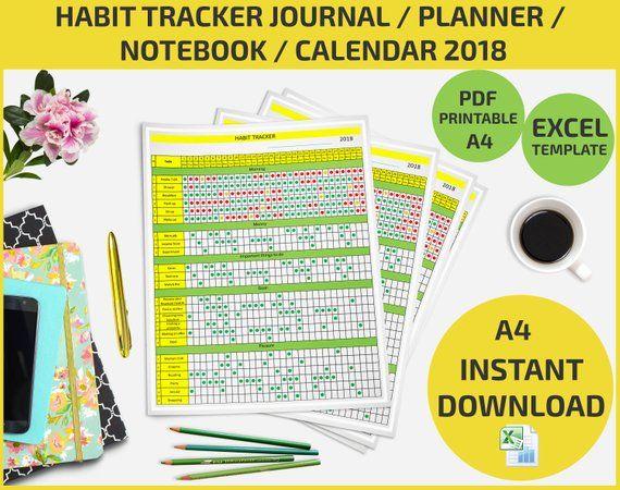 Habit tracker journal planner 2018 list maker notebook