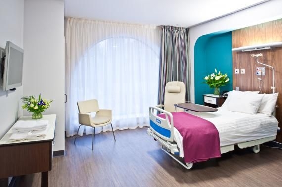 Large patient rooms on the second floor receive natural