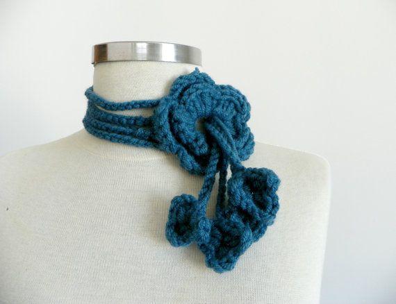 Crochet lariat scarf handmade crochet flower by Ozlempunchneedle