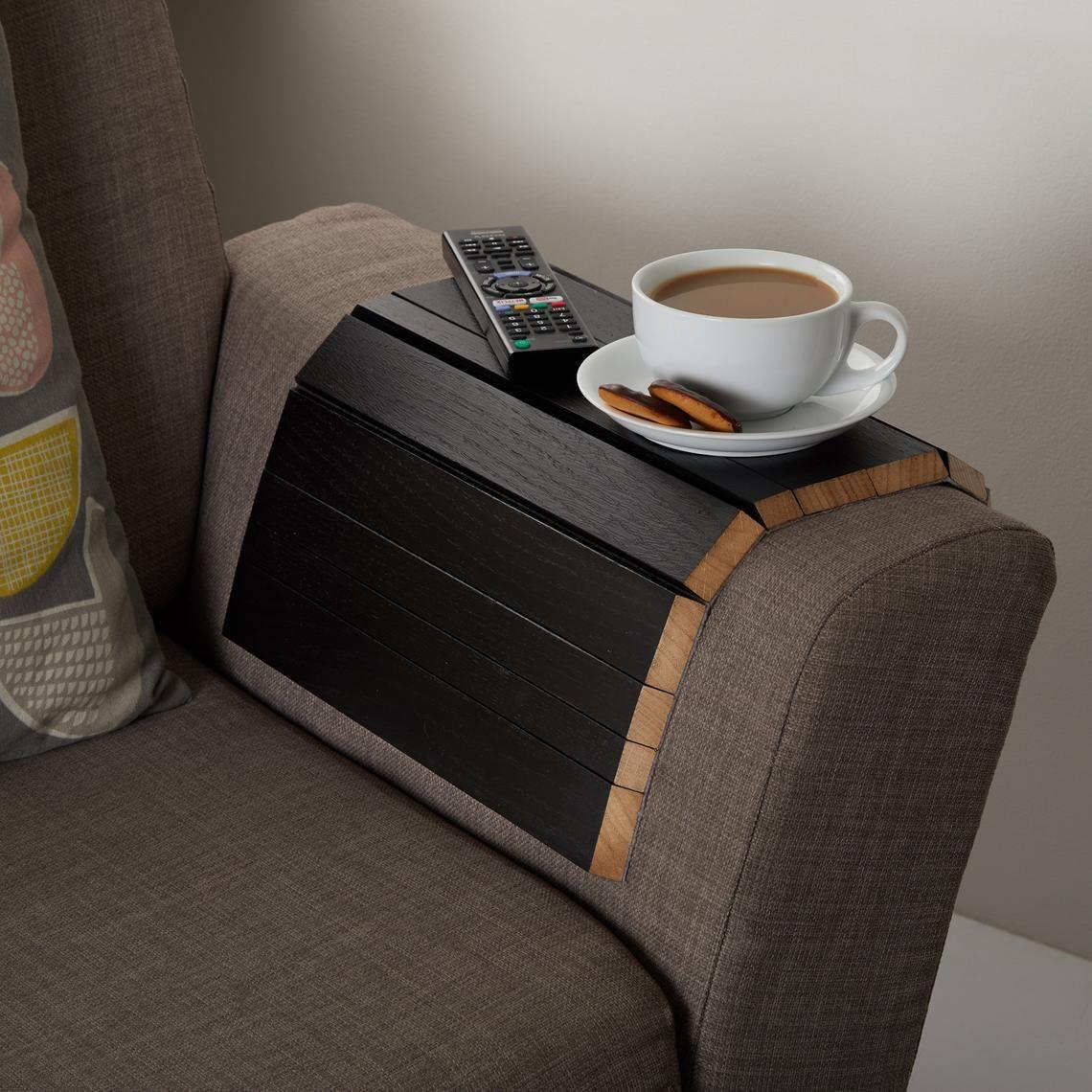 Flexible oak sofa side table handmade wooden arm rest