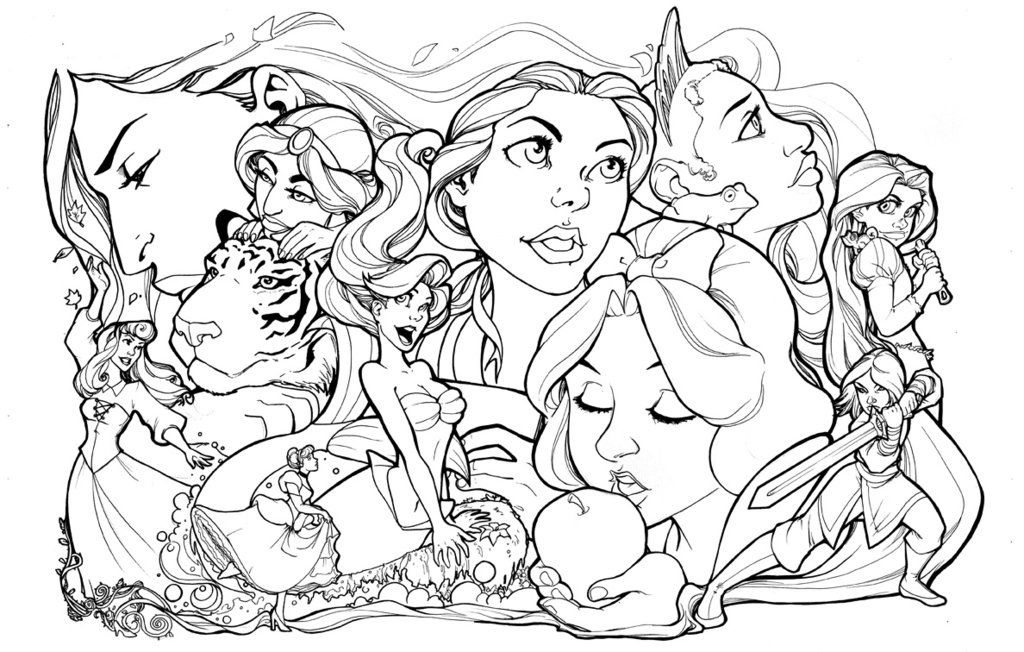 Disney Princesses Lineart Disney Coloring Pages Disney Princess Drawings Coloring Books