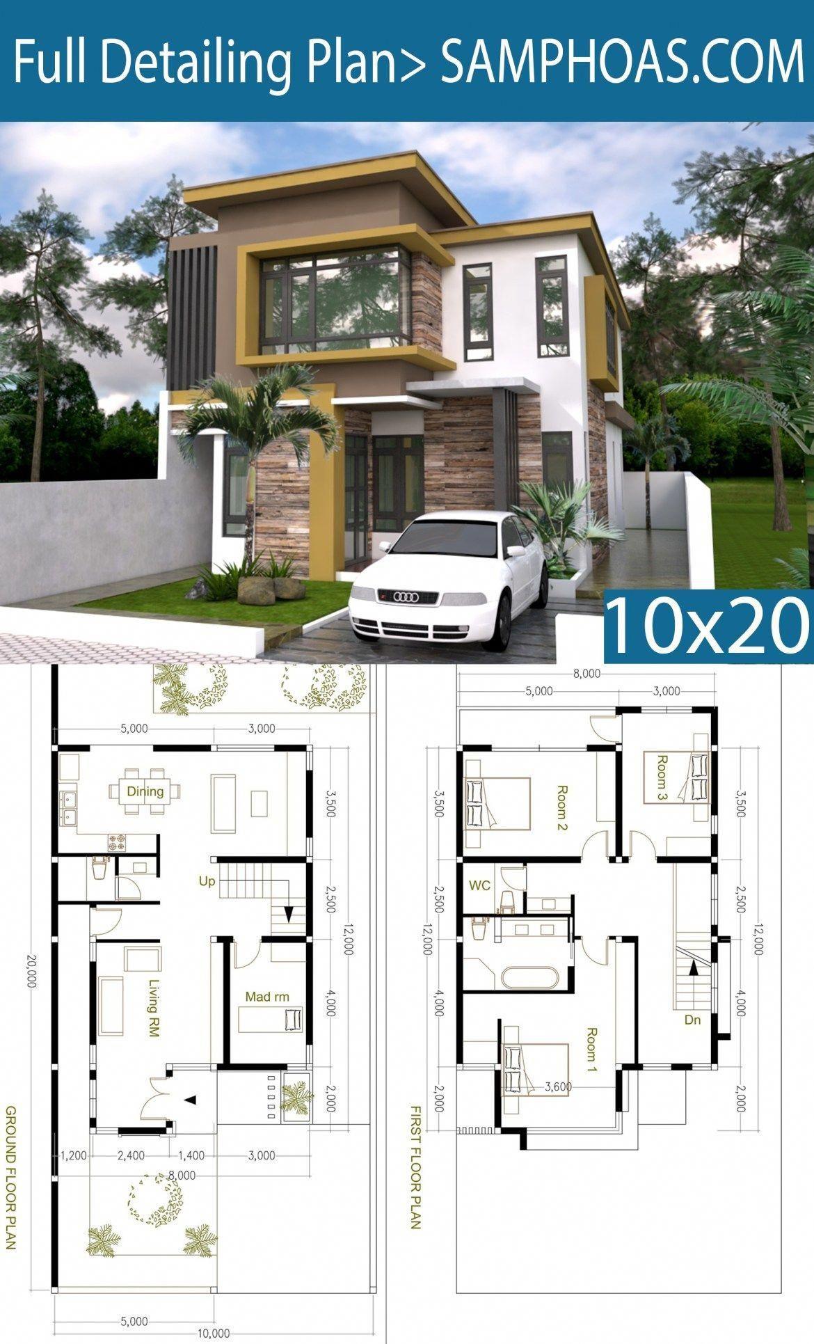 Plan De Casa Moderno De 4 Habitaciones Tamano 8x12m Samphoas Plansearch Luxuryhomeinterior Model House Plan Modern House Plans Duplex House Plans