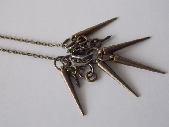 Steampunk/Industrial Spiked out handmade necklace by Sheila Cuellar - SavvyRelics