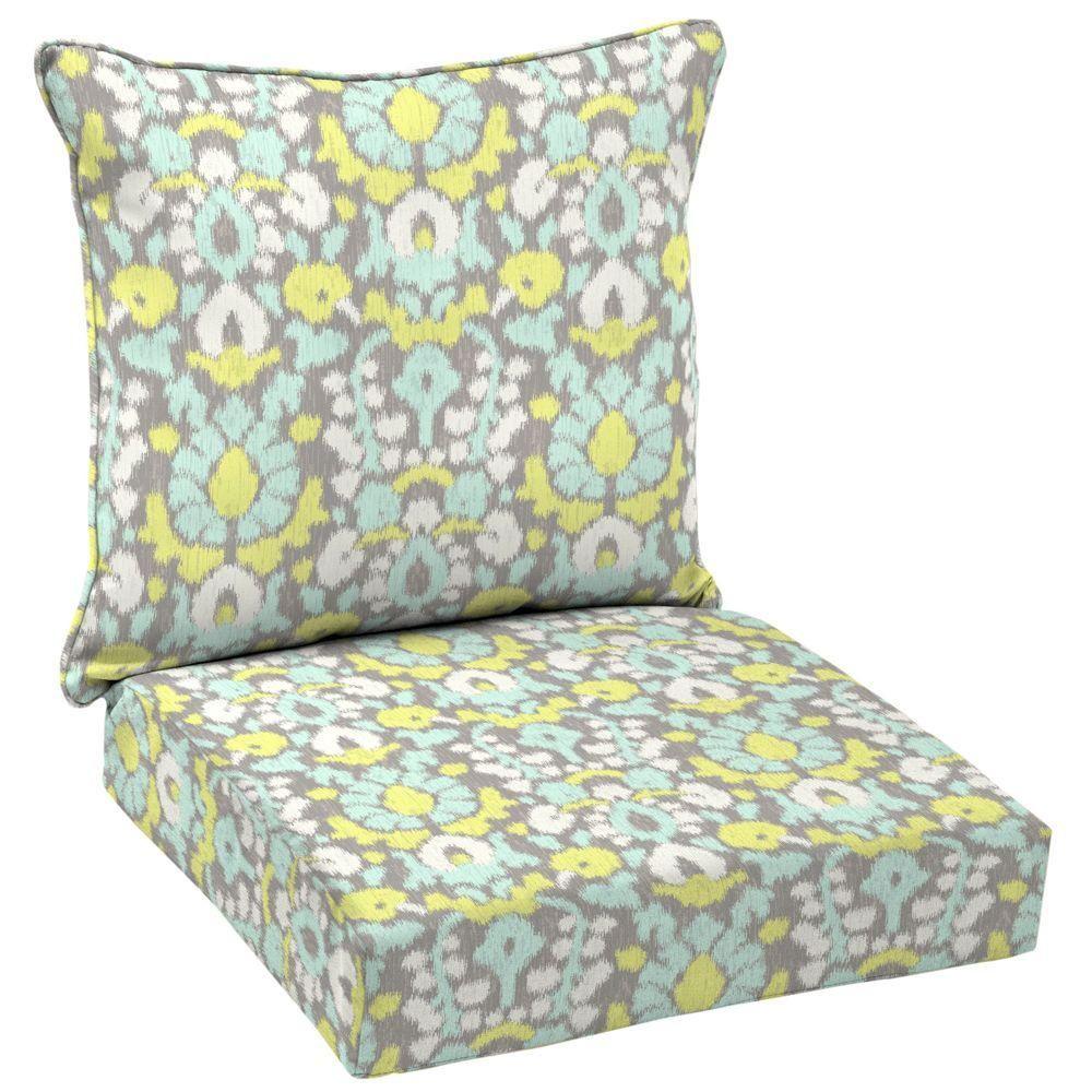 Hampton bay x outdoor lounge chair cushion in standard phyllis