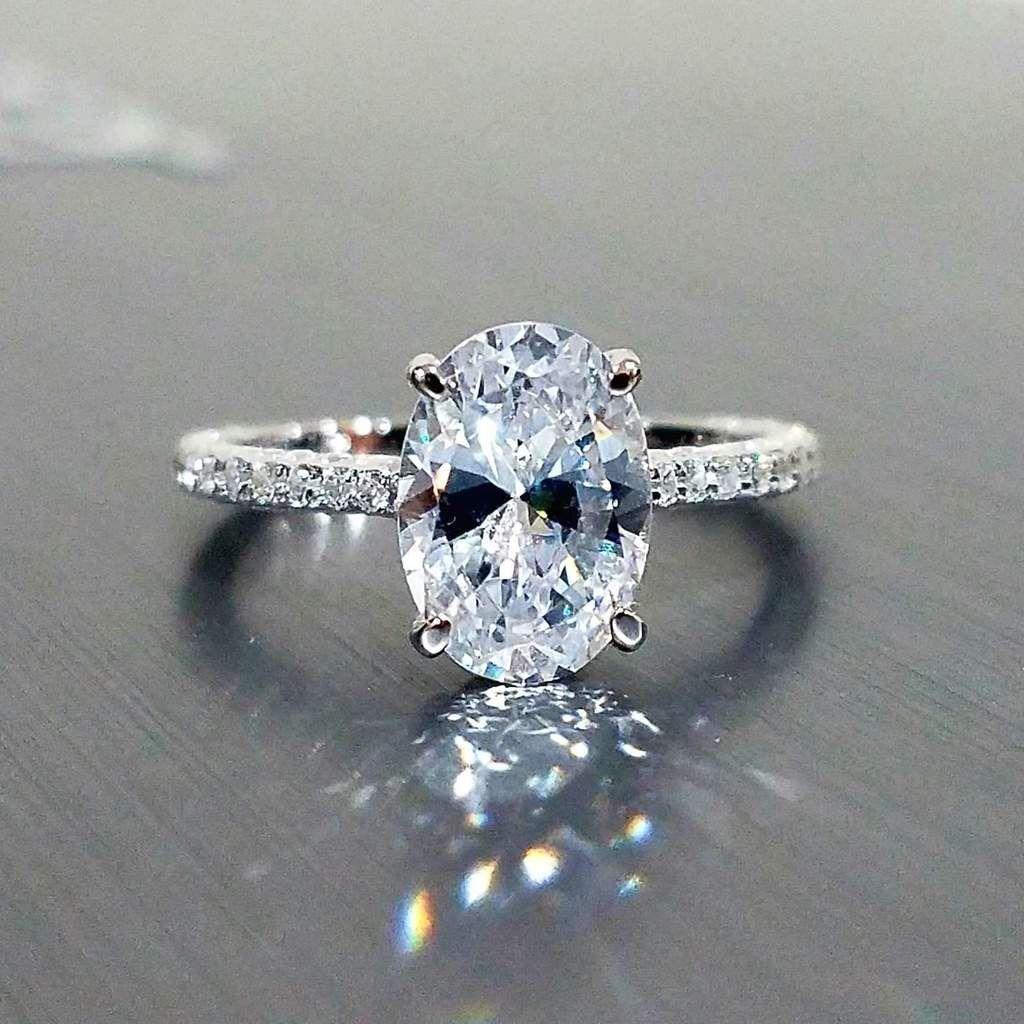 Alexandra 2ct Oval Petite French Pave Crown Iobi Cultured Diamond Ring Simulated Diamond Rings Engagement Diamond Engagement Rings Vintage Engagement Rings